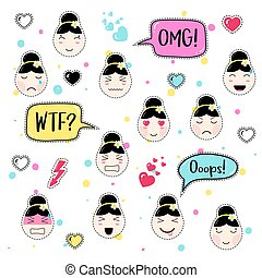 Set of cute patch badges kawaii  anime style