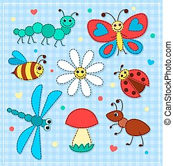 Set of cute patchwork insects for children