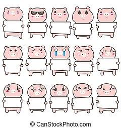 Set of cute pig holding a billboard design. Vector illustration.