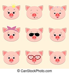 Set of cute piggy face different emotions in cartoon style.