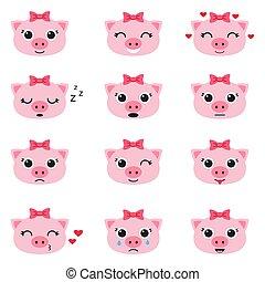 Set of cute piglet emoticons