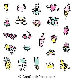 Set of cute pins, stickers, objects.