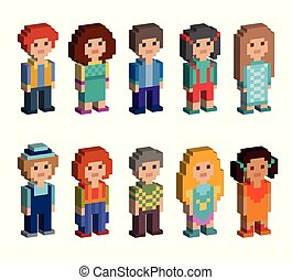 Set of cute pixel art style isometric characters
