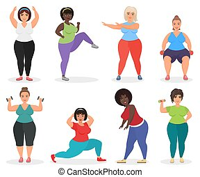 Set of cute plus size curved women doing fitness exercise. Fat woman sport and fitness.
