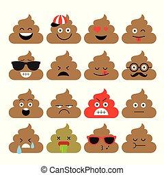 Set of cute poop, emoji, emotion, cute, vector illustration.