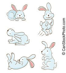 set of cute rabbits on white. vector