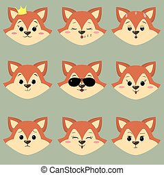 Set of cute red fox face with different emotions in cartoon style.
