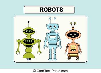Set Of Cute Robots Cartoon Robotic Character Vintage Icon