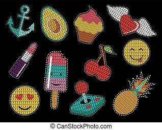 Set of cute sequin pop art retro patch icons