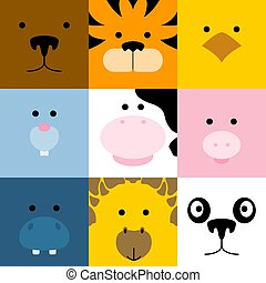 Set of cute simple animal faces, vector illustration