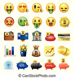 Set of cute smiley emoticons, emoji design, bicoin, business, crypto icons, vector ilustration.