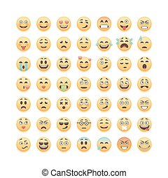 Set of cute smiley emoticons, emoji isolated on white background, vector illustration.