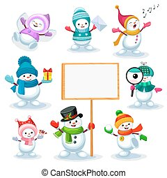 Set of cute snowmen in various poses isolated on white background