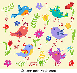 Set of cute spring musical birds
