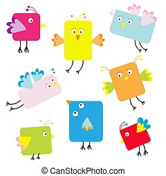 Set of cute square cartoon birds
