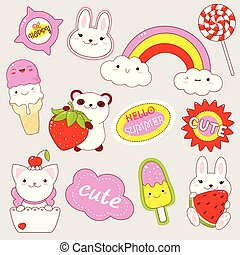 Set of cute stickers in kawaii style