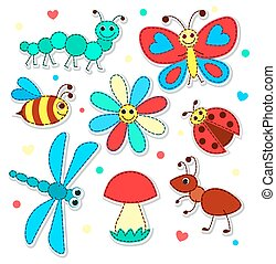 Set of cute stickers patchwork insects for children