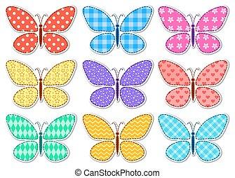 Set of cute stickers patchwork butterflies for children