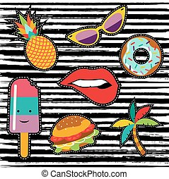 Set of cute summer cartoon stickers or patches