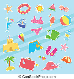 summer icons - set of cute summer icons