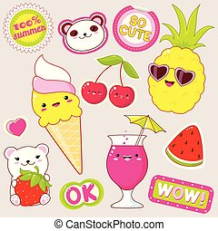 Set of cute summer stickers in kawaii style