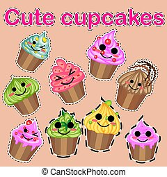 Set of cute sweet icons in kawaii style with smiling face and pink cheeks for sweet design. Ice cream, candy, cake, cupcake.