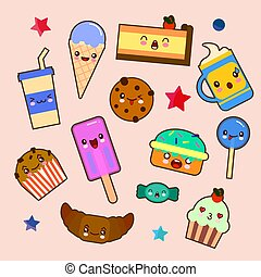Set of cute sweet icons in kawaii style with smiling face and pink cheeks for sweet design. Sticker with inscription So cute. Ice cream, candy, cap with coffee, soda, cupcake, macarons. EPS