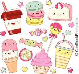 Set of cute sweet icons in kawaii style