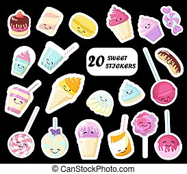 Set of cute sweet icons in kawaii style with smiling face and pink cheeks for sweet design. Sticker with inscription So cute. Ice cream, candy, cap with coffee, soda, cupcake, macarons. .