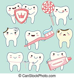 Set of cute teeth icons in kawaii style