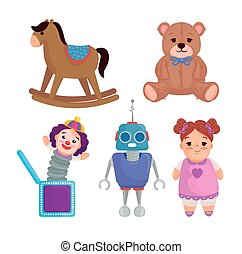 set of cute toys kids on white background