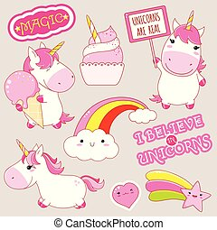 Set of cute unicorns stickers in kawaii style