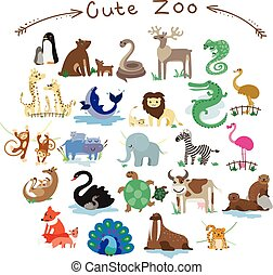 Set of Cute Vector Animals. A lot of different animals.