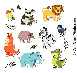 set of cute vector animals. stickers for children