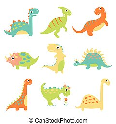 Set of cute vector dinosaurs