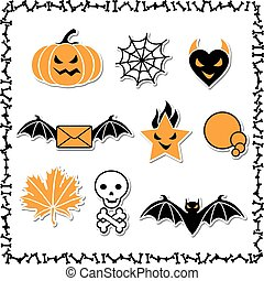 Set of cute vector Halloween icons for your design