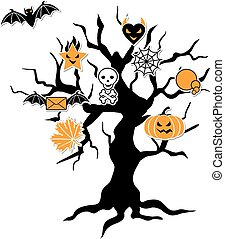 Set of cute vector Halloween icons in terrible tree