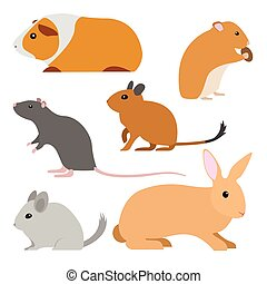 Set of cute vector rodents