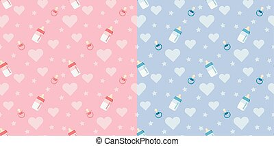 Set of cute vector seamless pattern with baby bottle, pacifier, heart.