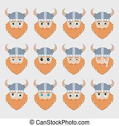Set of cute viking emoticons.