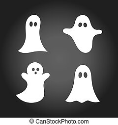 Set of cute white ghosts