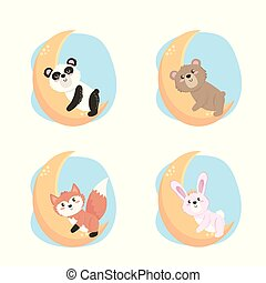 set of cute wild animals in the moon