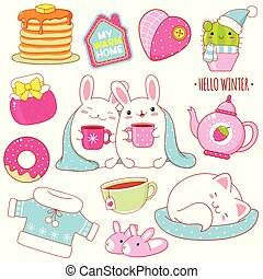 Set of cute winter stickers in kawaii style