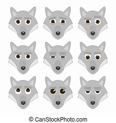 Set of cute wolf emoticons.