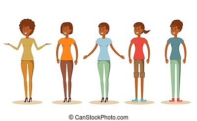 Set of Cute young african women in different clothes vector illustration.