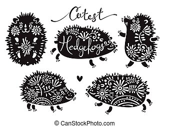 Set of cutest hedgehogs with flowers.