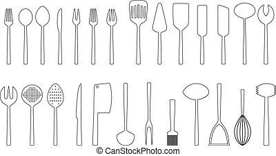 Set of cutlery outlines, vector illustration