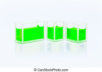 Set of cuvettes with green liquid