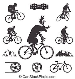 Set of cycling Mountain Bike Icons. Set include deer rides a...