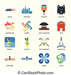 Set of cyclist, drones, stick figure, golf tournament, disability, happy thanksgiving, confectionery, home paint, railway icons